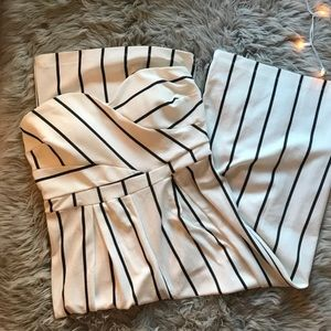 Venus Boutique Stripe Strapless Jumpsuit